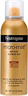 Neutrogena Micromist Airbrush Sunless Tanning Spray with Witch Hazel, Gradual Sunless Tanner with Alcohol-Free, Oil-Free & Non-Comedogenic Formula, Deep Intensity, 5.3 oz