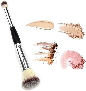 DAGEDA Double Ended Complexion Brush Face Concealer Powder Makeup Brush, Blending Liquid Foundation, Cream Cosmetics - Eye shadow brush loose brush, Blush brush, Black Handle, Vegan brush(Silver)