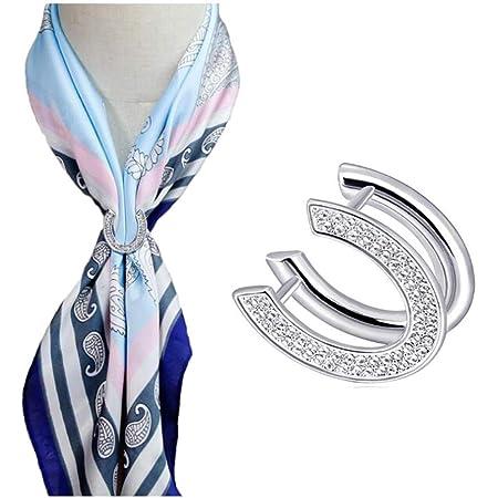 Three Rings Crystal Scarf Buckle Silk Scarf Clip Scarf Metallic Rings Buckle