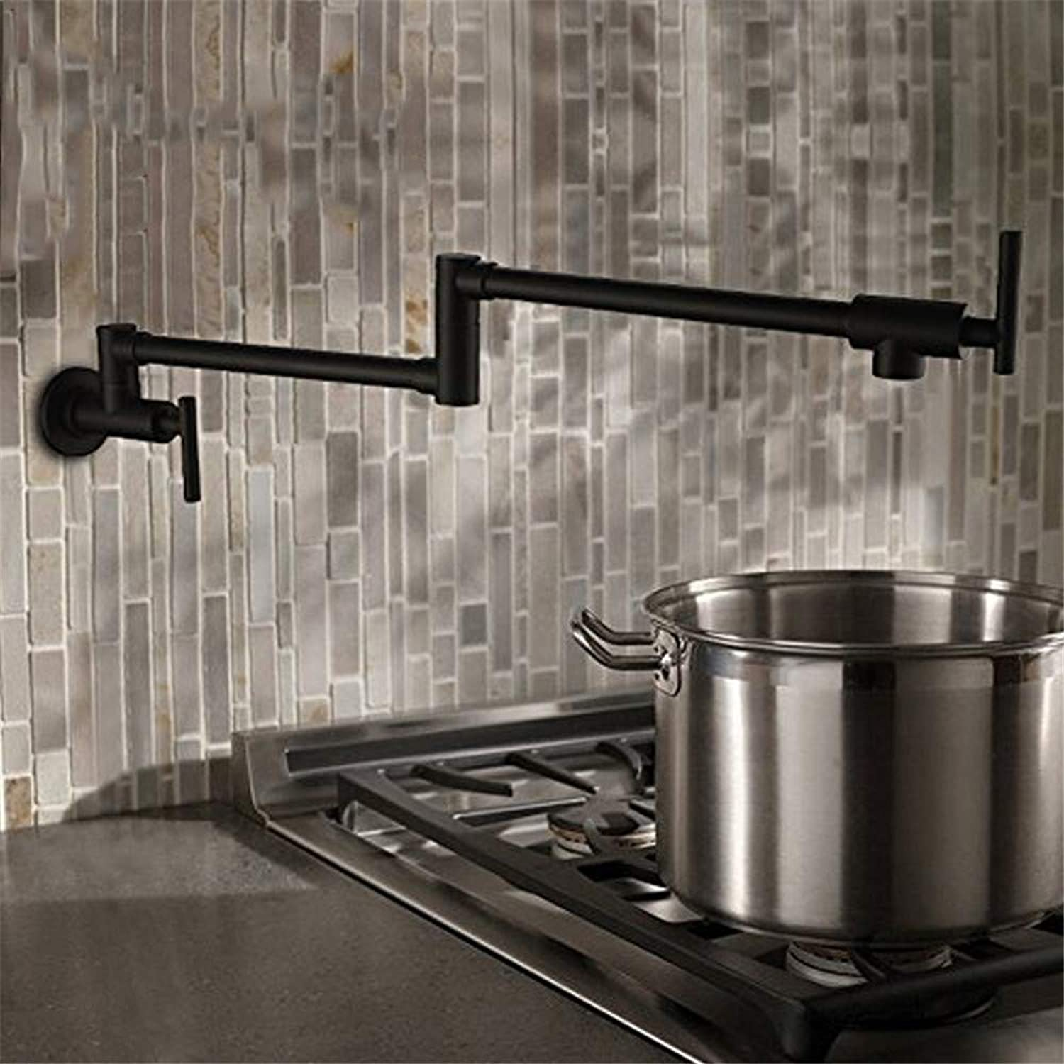 Decorry Brass Black Kitchen Faucets Folding Pot Filler 2 Handles Wall Mounted Single Cold Cook Tap