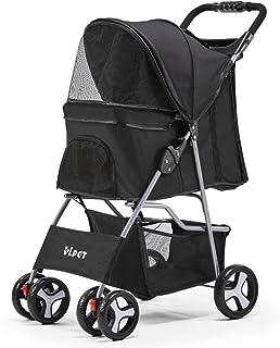 i.Pet Folding Pet Stroller Dog/Cat Travel Carrier-Black