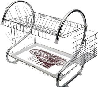 Stainless Steel 2-Tier Dish Drainer Rack Ancient Kitchen Drying Drip Tray Cutlery Holder Classical Antique Column Roman Empire Architecture Heritage Culture Print,Burgundy and White,Storage Space Save