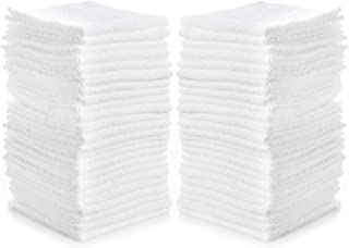 LUXTEX Washcloths Towels Absorbent Terry Towel 100% Ring Spun Cotton White Wash Cloth with Border Design Ideal for Face Wash Long Lasting Multi-Purpose Gym Spa Home Cleaning Rags 24 Pack 12