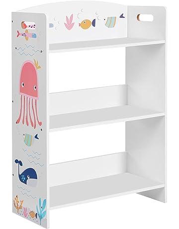 Libreria per bambini libreria rosa libreria per la camera dei bambini con 2 scatole portaoggetti in legno