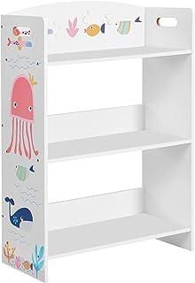 SONGMICS Librería Infantil de 3 Niveles, Estantería Infantil, para Habitación de los Niños y Sala de Juegos, para Libros, Juguetes, Blanco GKRS03WT