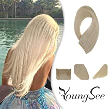 Youngsee 16inch Halo Couture Blonde Hair Extensions Remy Human Hair White Blonde Hidden Halo Crown Real Hair Extensions Adjustable Wire Headbands for Women 11