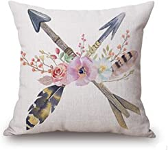 Bnitoam Retro Nostalgia Flower Feathers Arrow Cotton Linen Throw Pillow Covers Case Cushion Cover Sofa Decorative Square 18 inch (3)