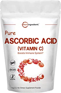 Pure Ascorbic Acid Powder (Water Soluble Vitamin C Powder), 1 KG (2.2 Pounds), Antioxidant Powder for Making Serum or Adding to Smoothie, Beverage or Drinks, Non-GMO and Vegan Friendly