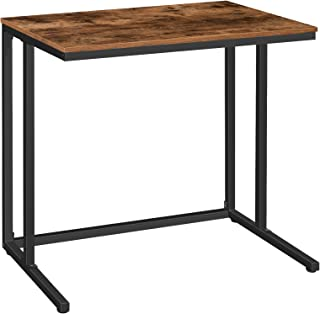 HOOBRO Computer Desk, C-Shaped Office Desk, Industrial Writing Table for Small Spaces, Stable and Space-Saving, Wood Look ...