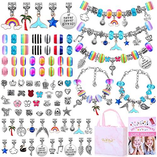 Bracelet Making Kit for Girls, Flasoo 85PCs Charm Bracelets Kit with Beads,...