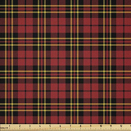 Lunarable Plaid Fabric by The Yard, Classical Celtic Fashion Tartan Checks and Stripes Cultural Orange Shades, Microfiber Fabric for Arts and Crafts Textiles & Decor, 3 Yards, Yellow Black