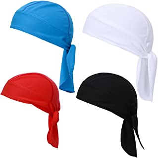 4 PcsMen and Women Wicking Sweat Beanie Cap Adjustable Hat Chemo Skull Cap Head Wrap for Fits Under Helmets and Baseball Cap