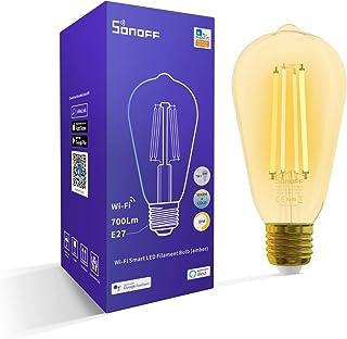 SONOFF WiFi Smart LED Filamento Bombilla B02-F-ST64, E27, 7W, 700Lm, 1800K-5000K, colores duales, brillo y temperatura de color ajustables, 2.4G wifi, Alexa soportado, Control Remoto, No Requiere Hub
