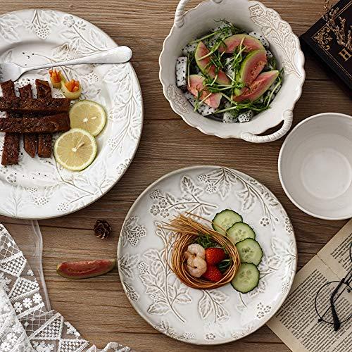 Juegos De Vajillas De Porcelana, vajilla de porcelana de estilo rstico americano con relieve retro de 24   Juego de cuenco de cereal y plato de carne para regalo de boda
