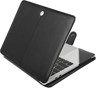 MOSISO Case Only Compatible with 2019 2018 2017 2016 MacBook Pro 15 Inch with Touch Bar A1990/A1707, Premium PU Leather Book Folio Protective Stand Cover Sleeve with Clear Strip, Black