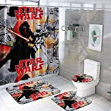VASHU Ultra-Soft Star Wars Shower Curtain Set with Non-Slip Rugs Toilet Lid Cover and Bath Mat, 16PCS Family Waterproof Bathtub Curtains for Home Decorate Bath Mat Set B