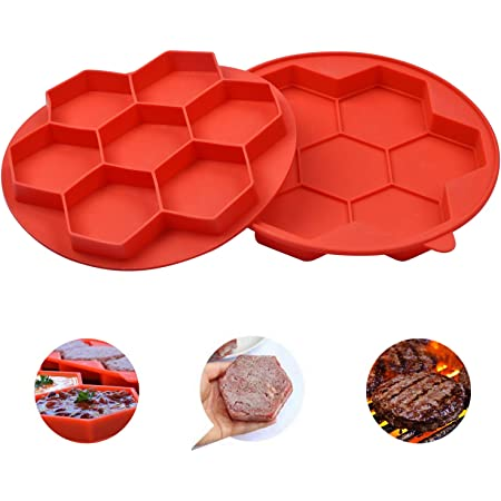 7-in-1 Burger Press, Non Stick Silicone Frozen Hamburger Maker Mould, Kitchen Tools for Hamburger Patty Maker, Breakfast Sandwich Maker, Cutlets Mould Maker (Small Size, Red)