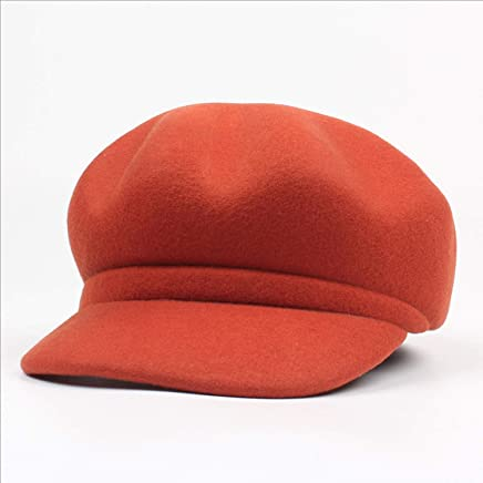 2019 Women Spring and Autumn Winter Octagonal Hat Simple Plain Cap Hat Woman New Wool Balelet (Color : Rust red, Size : Adjustable)