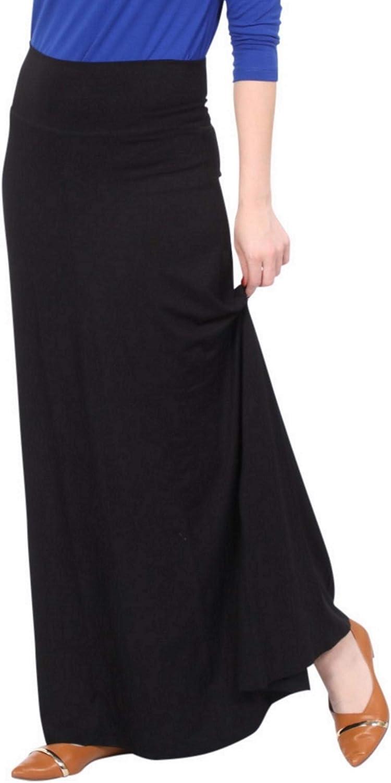 Kosher Casual Women's Modest Long Flowing Adjustable Length Fold Over Waistband Maxi Skirt