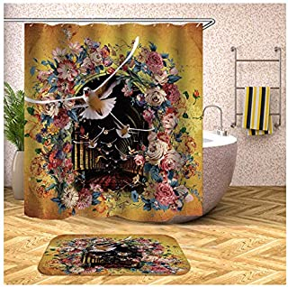 Epinki Polyester 2PCS Shower Curtain Set Colorful Pigeons Flower Door Shower Curtain Bath Mat for Bathroom with 12 Hooks 9...