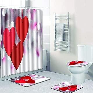 ZMK-720 4 Unids/Set Love Theme Antideslizante Inicio Tapa De La Almohadilla del Inodoro Alfombra De Baño Juego De Cortina De Ducha para El Baño del Hogar Valentine S Day @ D