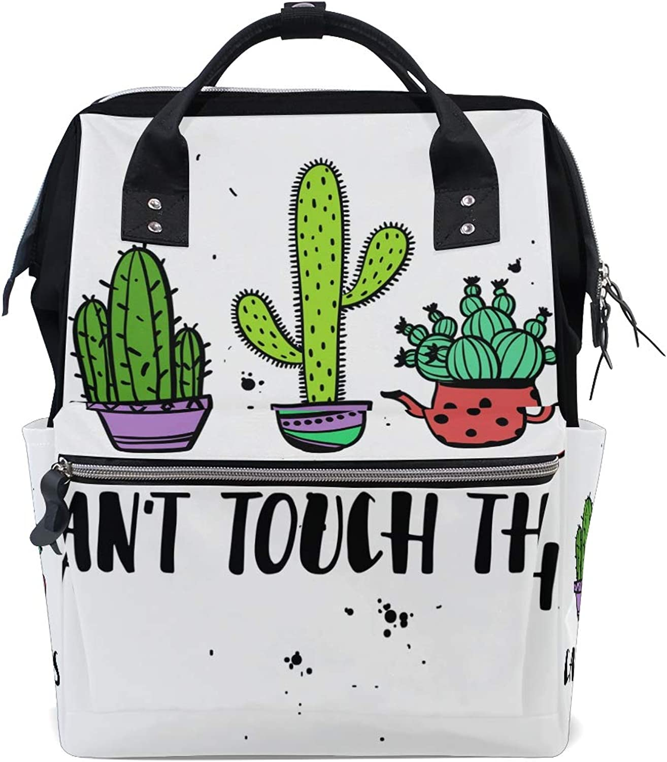 FANTAZIO Backpacks Cant Touch Cactus School Bag Canvas Daypack