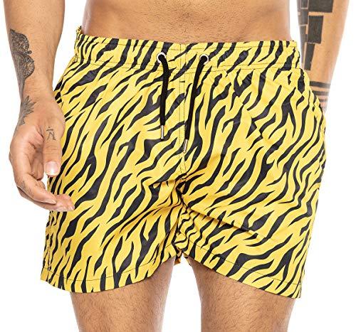 Redbridge Herren Badehose Badeshorts kurz schnelltrocknend Tiger Gelb L