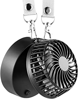 EasyAcc Battery Operated Necklace Fan Hand Free USB Fan Rechargeable Personal Fan with 2600mAh Battery 3 Settings 6-18H Working Times 180° Rotating Free Adjustment for Camping/Outdoors/Travel – Black
