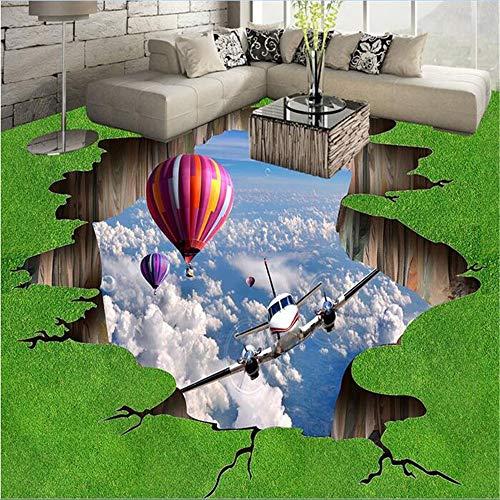 Zhcmy 3D-PVC-Boden-Tapete für Badezimmer, 3D, flach, Malerei, Gras, Luftballon, Fototapete 200 * 140cm