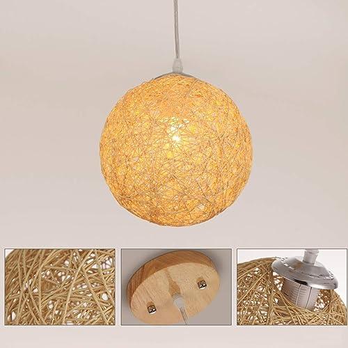 SGWH Style rustique en bois de style pendentif lumière Creative Loft Bar lampe suspendue boule ronde fer pendentif lampe rétro Art salon salle à hommeger étude décoratif éclairage intérieur D35cm 1  E2