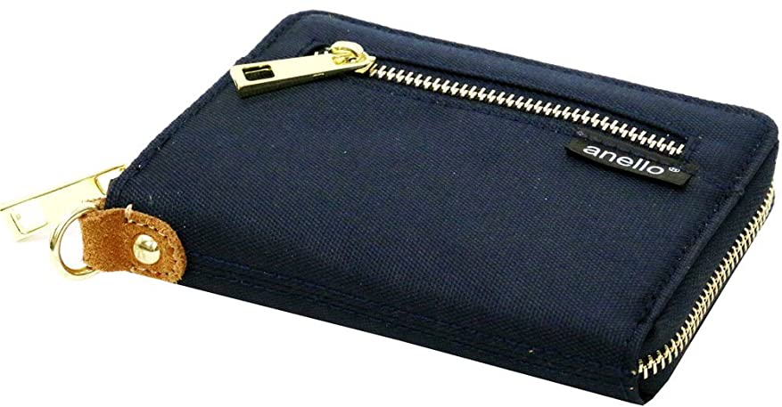肉腫服を片付ける比率anello(アネロ) 財布 メンズ 二つ折り ナイロン 布製 ラウンドファスナー 迷彩 6color Free ネイビー