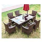 Conjunto de muebles de patio y silla de mimbre Rat Muebles de jardín de ratán Patio Muebles de exterior Muebles de césped de familia Mesa de café al aire libre Conversación del patio al aire libre