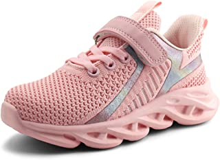 JABASIC Kids Lightweight Running Shoes Boys Girls Breathable Tennis Sports Sneakers (10,Pink-1)