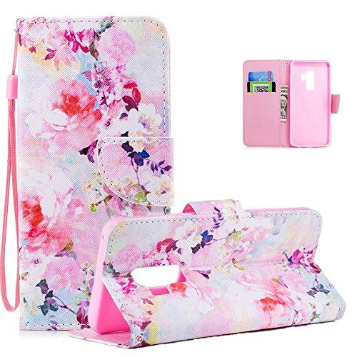 Preisvergleich Produktbild Vectady Hülle für Samsung Galaxy S9 Plus [NO für S9],  Schutzhülle Hüllen Flip Case Handyhülle Leder Handytasche Magnet Geldbörse Ledertasche für Samsung Galaxy S9 Plus, Blumen