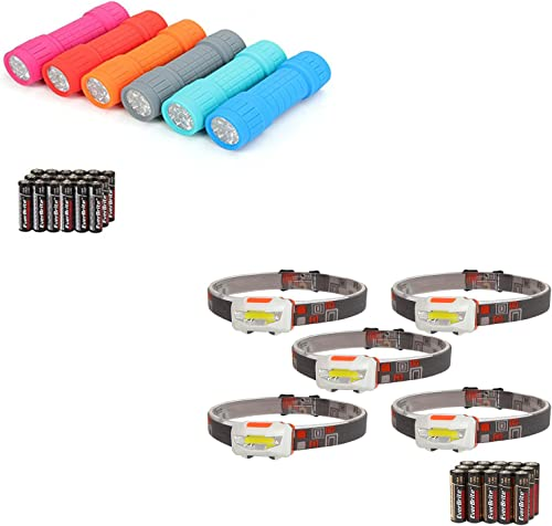 new arrival EverBrite 9-LED high quality Flashlight 6-pack Impact Handheld Torch Assorted Colors with Lanyard 3AAA Battery Included+ Headlamp Flashlight, 5-pack Super sale Bright COB Head Lamp Suitable for Running, Camping online