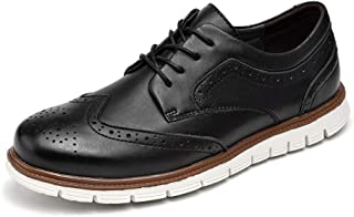 Men's Hybrid Brogue Oxford Leather Lace-up Wingtip Dress Shoes