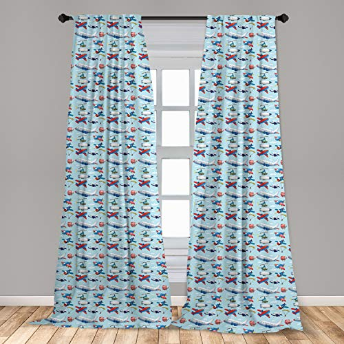 """Ambesonne Airplane Curtains, Different Types of Cartoon Aircraft Floating in Blue Sky with Sky Diving People, Window Treatments 2 Panel Set for Living Room Bedroom Decor, 56"""" x 84"""", Multicolor"""