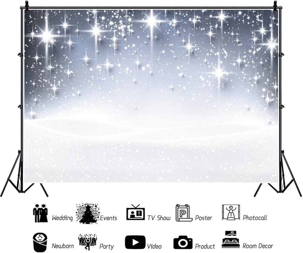 OERJU 12x10ft Winter World Backdrop Shining White Star Snow Ground Photography Thanksgiving Day Party Decorations Merry Christmas Eve Supplies Happy New Year Family Portrait Photo Vinyl Wallpaper