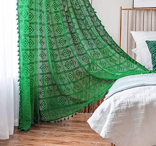 MJMJ Cortina De Ventana Boho Crochet Knitting, Cortinas De Lino De Algodón De Granja con Borlas, Cortinas Escarpadas para La Sala De Estar De La Niña.(Size:180x180cm(71x71inch),Color:Conexión Verde)