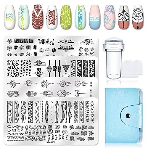 MEET ACROSS Nails Art Stamping Plate Scraper Stamper Set Nail plate Template Image Plate,4pcs Nail Stamping Plates+1 Stamper+1 Scraper+1 Storage Bag