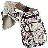 KUNST UND MAGIE Doppel Bauchtasche Sidebag Gürteltasche Festivaltasche Hippie Goa, Farbe:Weiß