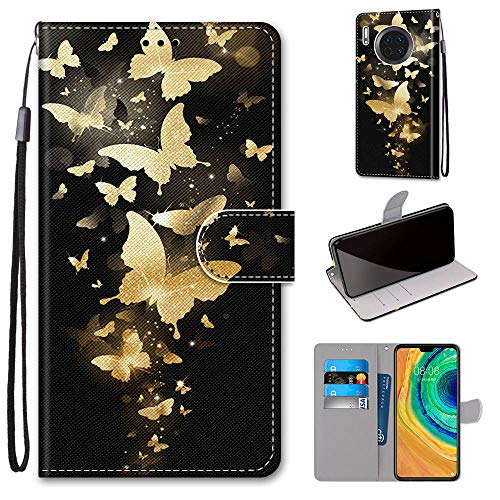 Miagon Flip PU Leder Schutzhülle für Huawei Mate 30 Pro,Bunt Muster Hülle Brieftasche Case Cover Ständer mit Kartenfächer Trageschlaufe,Gold Schmetterling