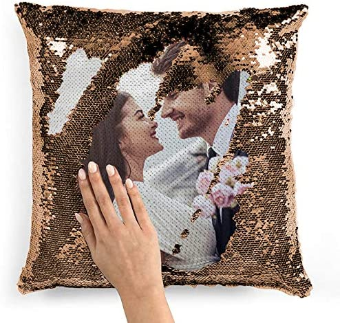 Custom Sequin Pillow Cover Design Mermaid Reversible Covers Personalized Photo Case Magic Decorative product image