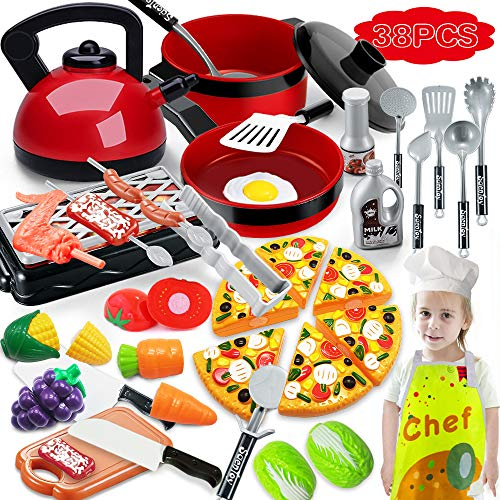 Scientoy Kitchen Toys for Pretend Play, 38 Pcs Toy Cooking Set with Cooking Utensils, Play Food, Chef Coat& Hat, Pizza,...