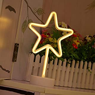 Star Neon Signs, LED Neon Light Sign with Holder Base for Home Party Birthday Bedroom Bedside Table Decoration Children Kids Gifts (Star with Holder)
