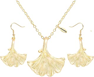 NOUMANDA Fashion Ginkgo Leaf Pendant Necklace Earring Set Trendy Fall Women Jewelry
