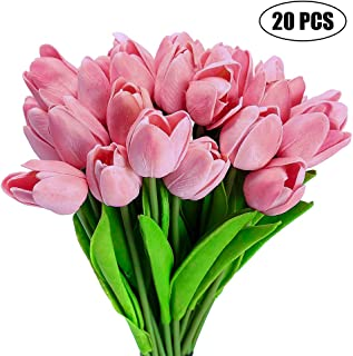 Gooteff Artificial Flowers Set of 20 Pcs Silk Tulip Flower Bouquet Natural Touch Plants for Wedding Party Home Hotel Event Decoration (Pink)