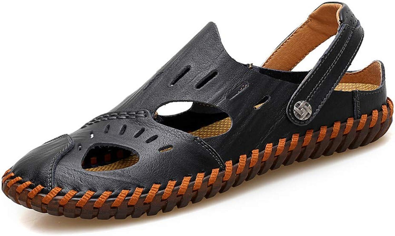 Flip-Flops Outdoor Sports Sandalsmen'S Sandals Leather Non-Slip Breathable Beach shoes Baotou Hollow Casual Sandals