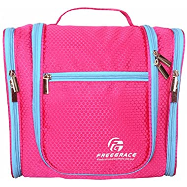 Hanging Toiletry Bag By Freegrace -Premium Large Travel Essentials Organizer -Durable Metal Hook - For Men & Women -Perfect For Accessories, Cosmetics, Personal Items, Shampoo, Body Wash (Pink)