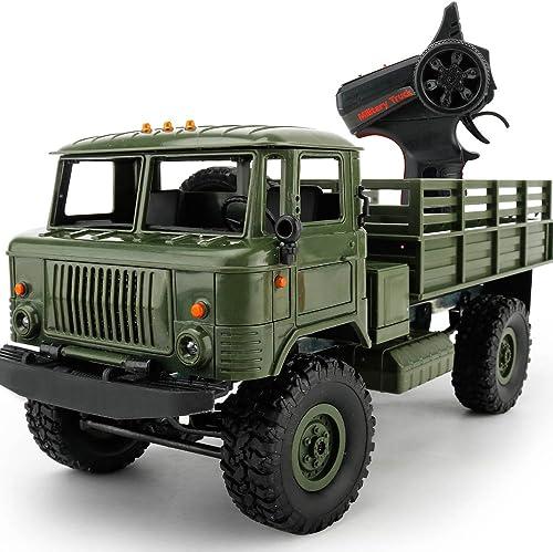 YRE Military Gass 1 16 Truck Vier-Antrieb-Fernbedienung Auto Spielzeug, 2.4G Tr r Offroad-Kletterwagen Modell,Grün